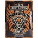 Plaque 3D métal Harley Davidson: Motorcycles garage 30 x 40 cm