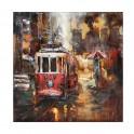 Tableau sur Bois & Métal 3D : Le Tramway Rouge, H 100 cm