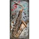 Tableau sur Bois & Métal 3D : Le Saxophone, H 80 cm