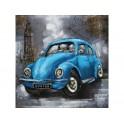 Tableau sur Bois & Métal 3D : La Coccinelle bleue à Londres, H 100 cm