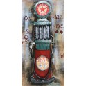Tableau sur Bois & Métal 3D : La Pompe à essence rétro, H 120 cm
