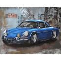 Tableau sur Bois & Métal 3D : La Renault Alpine, Bleu, L 80 cm