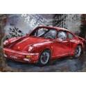 Tableau sur Bois & Métal 3D : La Porsche 911 Turbo, Rouge, L 80 cm