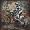 Tableau sur Bois & Métal 3D : Enduro Moto Cross, H 100 cm