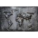 Tableau sur Bois & Métal 3D : Planisphère, Gris anthracite, L 120 cm