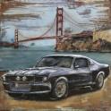 Tableau sur Bois & Métal 3D : La Ford Mustang devant le Golden Gate, H 100 cm