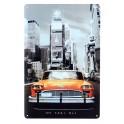 Plaque Murale Rétro : Le Taxi jaune à New York, H 30 cm