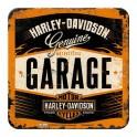 Sous-bock Métal & Liège : Modèle Garage Harley Davidson, 9 x 9 cm