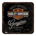 Sous-bock Métal & Liège : Modèle Logo Harley Davidson, 9 x 9 cm