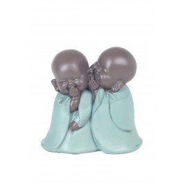 Figurine 2 Moines en Confidence, Collection Baby Zen, H 11,5 cm