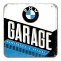Sous-bock Métal & Liège : Modèle BMW Garage, 9 x 9 cm