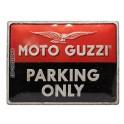 Plaque 3D métal Logo Moto Guzzi, Parking Only, 40 x 30 cm