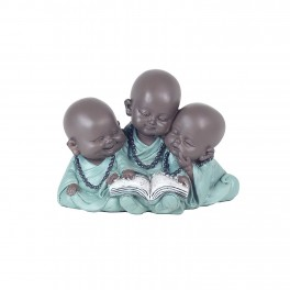 Figurine 3 Moines Lecture, Collection Baby Zen, H 9 cm