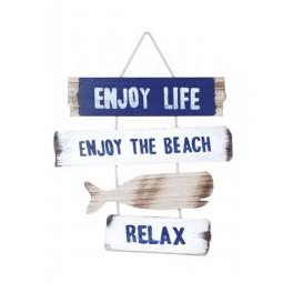 Déco murale Bois : Enjoy the beach, H 30 cm