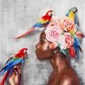 Tableau Femme : Flowers & Parrots H 100 cm