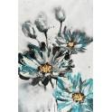 Tableau Fleurs bleues : Marguerites en coeur indigo, H 120 cm