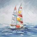 Tableau Bateaux multicolores : Deux voiliers, effet métal, H 60 cm