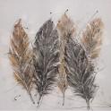 Tableau Design Nature : 5 Plumes design, L 100 cm