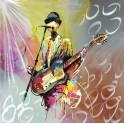 Tableau peint sur métal : Le Bassiste multicolore, H 100 cm