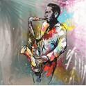 Tableau peint sur métal : Le Saxophoniste multicolore, H 100 cm