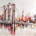 Tableau Urbain : Pont de Brooklyn multicolore, H 100 cm