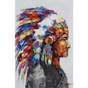 Tableau Ethnique Tribal : Chef indien, H 90 cm