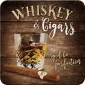 Sous-bock Métal & Liège : Modèle Whisky & Cigares, 9 x 9 cm