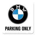 Sous-bock Métal & Liège : Modèle BMW Parking Only, 9 x 9 cm