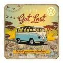 Sous-bock Métal & Liège : Modèle VW Combi Get Lost, 9 x 9 cm