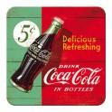 Sous-bock Métal & Liège : Modèle Coca-Cola, 5 Cent a Bottle, 9 x 9 cm