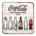 Sous-bock Métal & Liège : Modèle Coca-Cola History, 5 Bouteilles, 9 x 9 cm