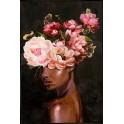 Tableau Femme : Black Woman & Pink Roses, H 120 cm