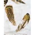 Tableau Design Nature : Plumes d'or, H 120 cm