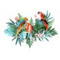 Décoration murale métal : 3 perroquets & Feuillage tropical, L 104 cm