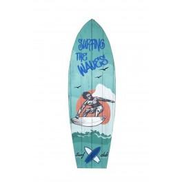 Déco Planche de Surf Murale : Mod Surfing The Waves, H 75 cm