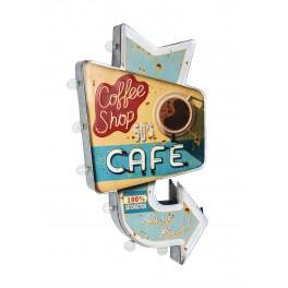 Enseigne Flèche LED : CAFE COFFEE SHOP, H 59 cm