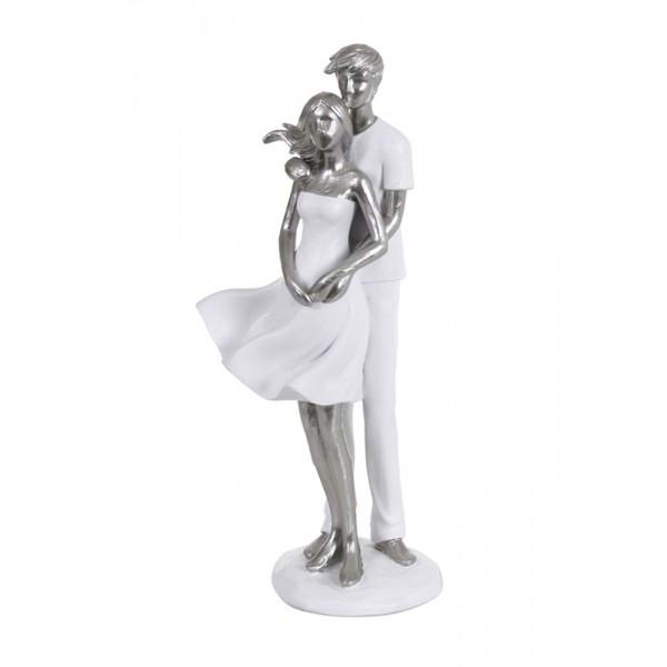 SCULPTURE DESIGN ROMANCE porcelaine amoureux blanc couple argent/é statuette 49 cm