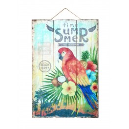 Plaque Bois Vintage Perroquet & Jungle : Summertime, H 60 cm