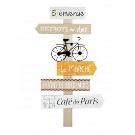 Déco murale Bois Panneau : Le Bistro des Amis, H 60 cm