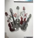 Déco Murale Métal : Folk & Sound 5 Guitares, Mod Argent & Rouge, L 78 cm