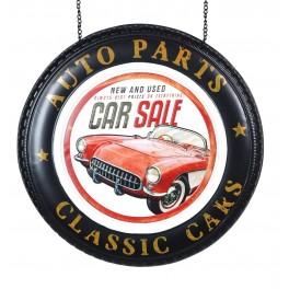 Enseigne murale métal : Open Car Sales & Auto Parts, H 60 cm