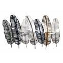 Décoration murale : 6 plumes stylisées en métal, L 105 cm