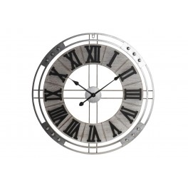 Grande Horloge Industrielle, Bois Gris & Métal argent, Diam 70 cm