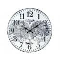 Horloge rétro en métal : Mod Planisphère Fond blanc, Diam 40 cm