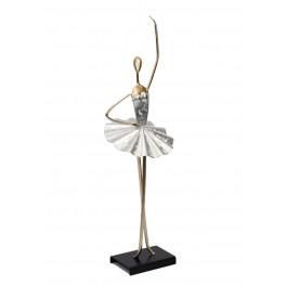 Statuette Danseuse Métal : Ballerine argentée, Demi-pointe 2, H 46 cm