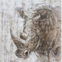Tableau Rhinocéros : Corne d'Afrique, H 100 cm
