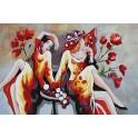 Tableau peint coloré : Une année folle à Paris, L 120 cm
