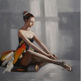 Tableau Danseuse : Ballerine multicolore 3, H 100 cm