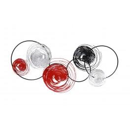 Déco murale métal abstraite : Spirales & Cercles, Rouge et Gris, L 130 cm