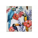 Tableau Jungle : Perroquet, Toucan & Hibiscus, H 80 cm